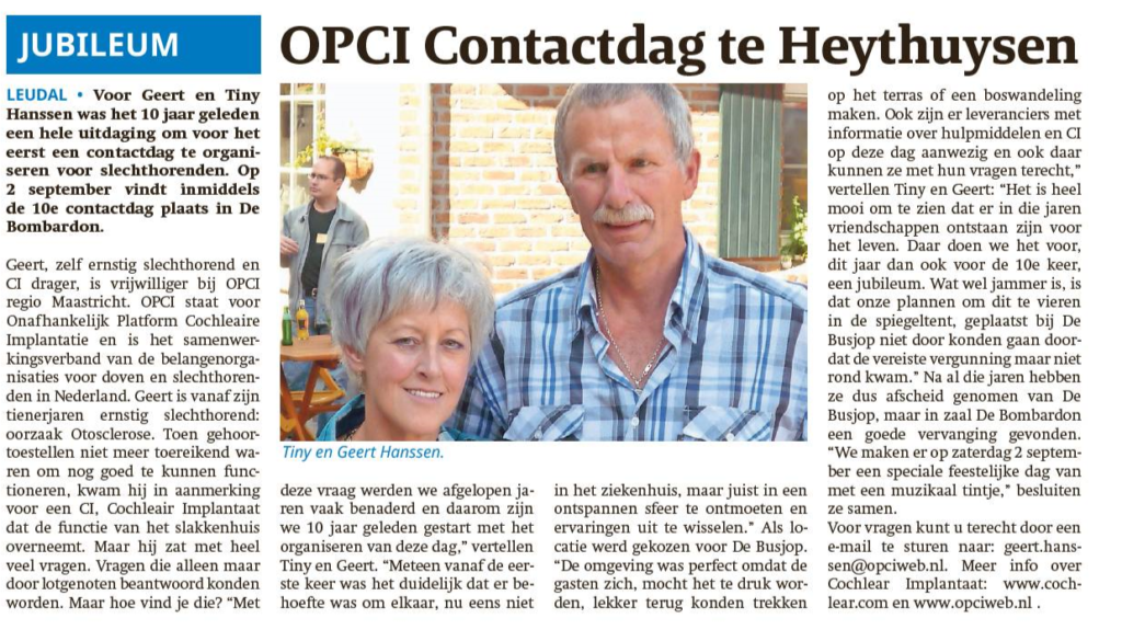 Interview met Geert en Tiny in de krant Leuldal