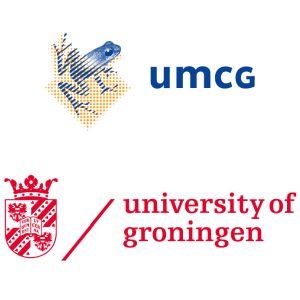 Gecombineerde logo's van UMCG en RUG