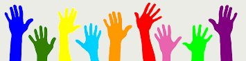Plaatje met gekleurde handen van vrijwilligers