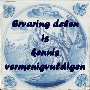 Delfs blauw tegeltje met de tekst: Ervaring delen is kennis vermenigvuldigen