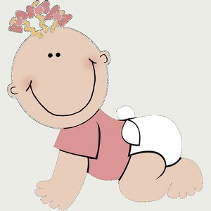 Tekening van kruipende baby