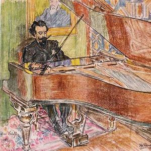 Een pianist zit achter zijn vleugel