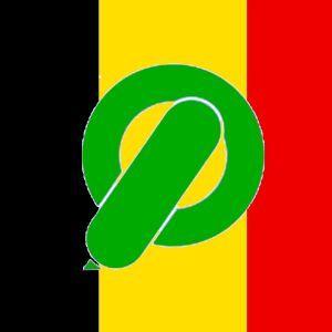 Een groene CI-spoel op de kleuren van de Belgische vlag