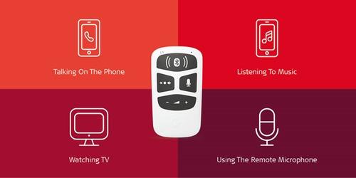 Schematische afbeelding van de Audiolink met daaromheel vier vlakken in roodtinten met symbolen en tekst voor telefoneren, muziek, televisie en microfoon op afstand